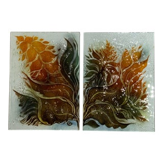 1960s Mid-Century Art Glass Wall Hanging - a Pair For Sale