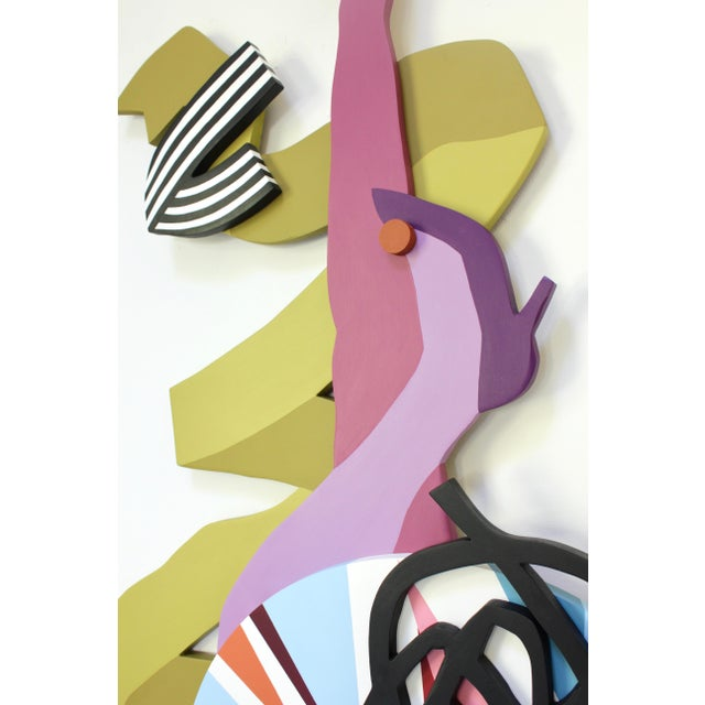 Wall sculpture by Angela Chrusciaki Blehm, acrylic latex paint on wood, signed on back