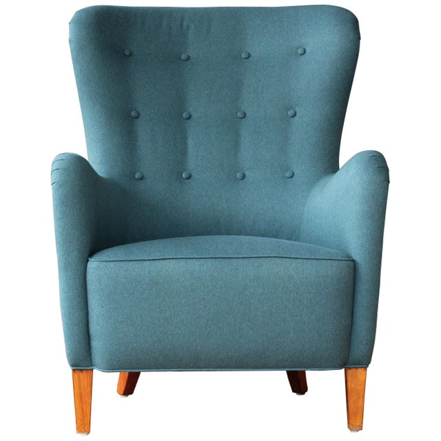 Dark Teal Armchair by Ernest Race, 1940s, England For Sale - Image 9 of 9