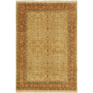 Pak Persian Dong Ivory/Rust Hand-Knotted Rug -4'0 X 5'11 For Sale