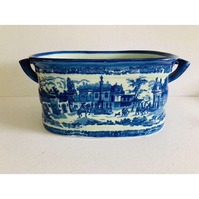 Ceramic Modern Victorian Style Large Blue & White Porcelain Victoria Ware Ironstone Planter For Sale - Image 7 of 7