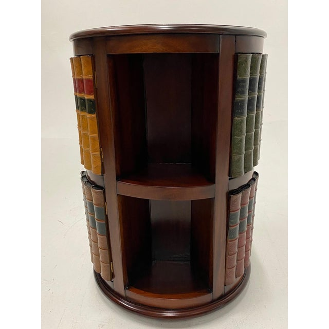 1960s Mahogany and Leather Revolving Book Motife Cabinet For Sale - Image 5 of 9