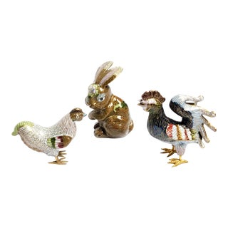 Vintage Mid Century Hand Crafted Cloisonné Mini Animal Figurines - Set of 3 For Sale