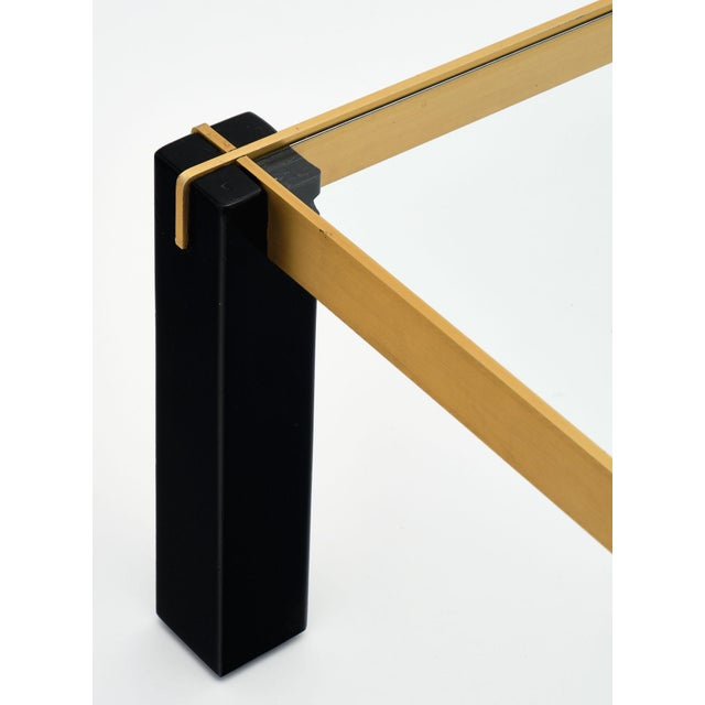 Black Modernist Brass and Black Coffee Table For Sale - Image 8 of 9