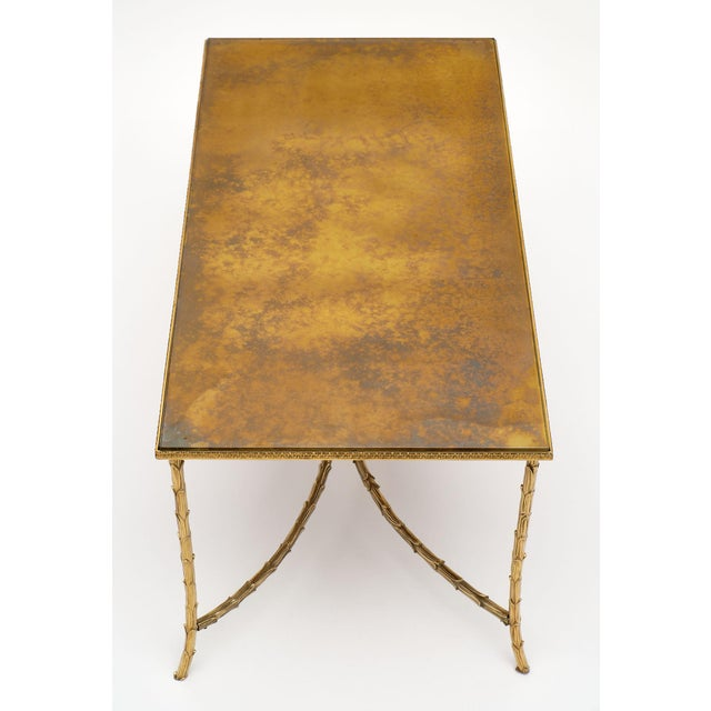Maison Charles Maison Charles Gold Leaf Glass Top Brass Coffee Table For Sale - Image 4 of 10