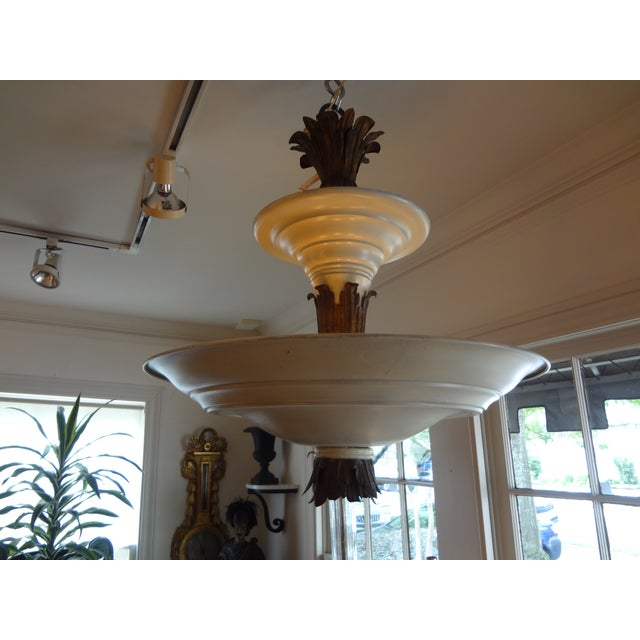 French Art Deco Tole & Bronze Chandelier - Image 5 of 7