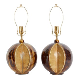 Soholm Stentoj Danish Modern Brown/Tan Ceramic Lamps - a Pair For Sale