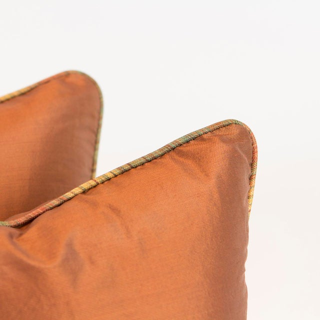 Copper Ribbed Silk Pillows - Pair - Image 4 of 4