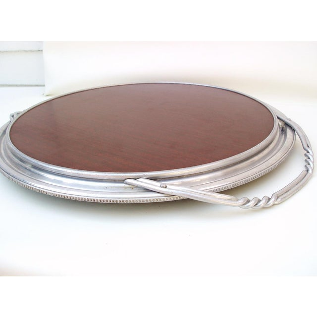 Aluminum & Faux Wood Bar Tray Serving Platter - Image 7 of 7