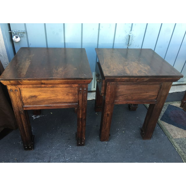Wood Rustic Side Tables - A Pair - Image 5 of 6