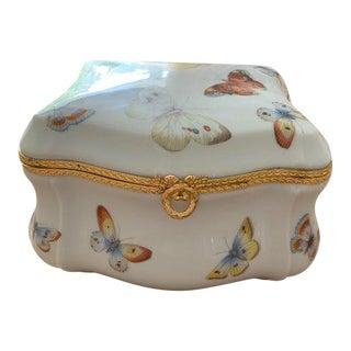 Limoges France Butterfly Porcelain Trinket Box For Sale