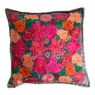 1980s Guatemalan Huipil Embroidered Pillow For Sale