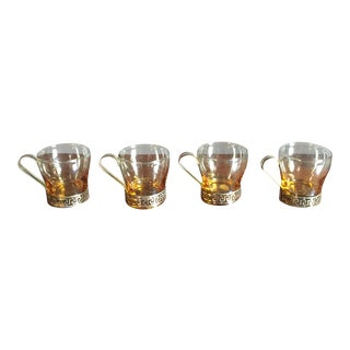 Amber Colored Greek Key Coffee Cups - Set of 4