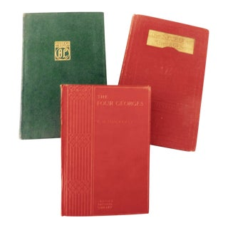 Antique Traditional Green & Red Books - Set of 3 For Sale
