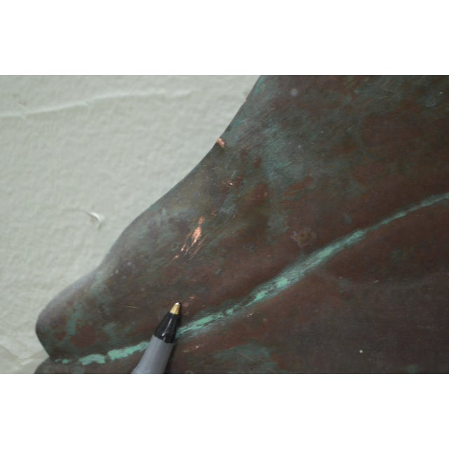 Brown Hammered Copper Weathered Dolphin Wall Sculpture For Sale - Image 8 of 10