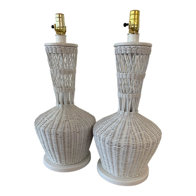 Wicker Rattan White Lamps - Pair For Sale