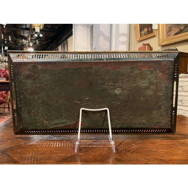 Brown 19th Century French Hand Painted Rectangular Gallery Tole Tray For Sale - Image 8 of 9