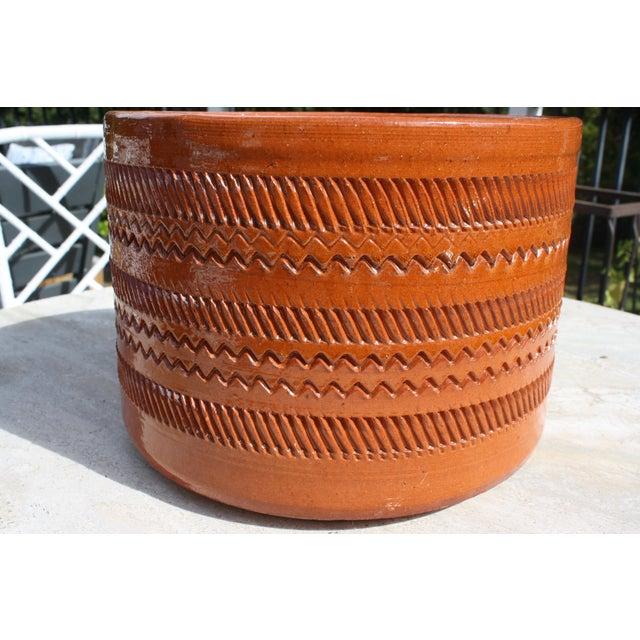 Vintage Mid-Century Orange Incised Planter - Image 9 of 9