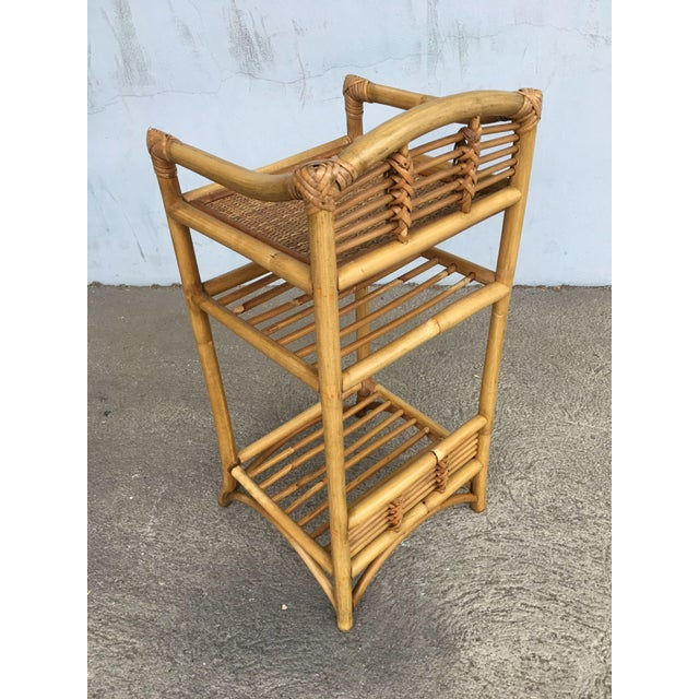 1950s Restored Mid-Century Rattan Three-Tier Book/Magazine Shelf For Sale - Image 5 of 7