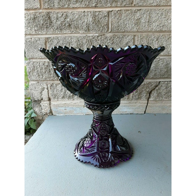 Item offered is a beautiful eapg vintage Imperial Glass Amethyst large banquet size punch bowl with stand. It is the...