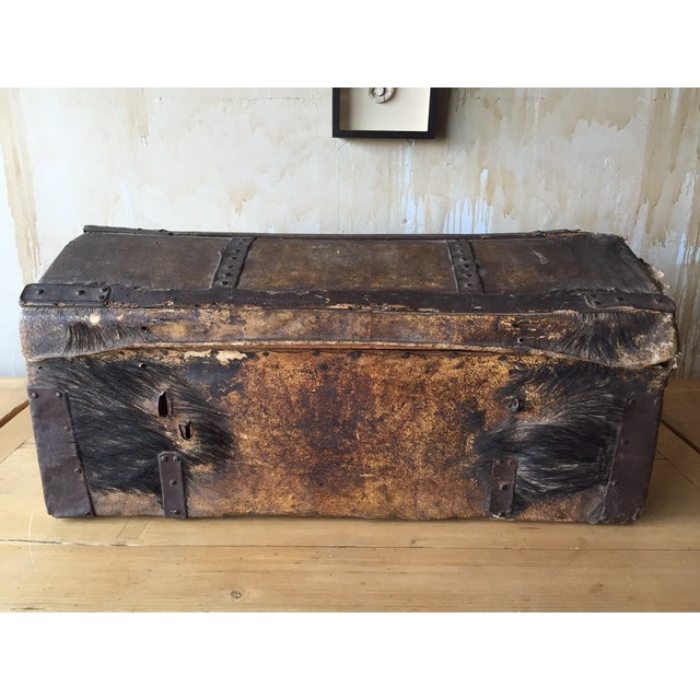 This 18th century Italian antique trunk was originally used for traveling. It is made of wood and chinghiale fur (wild...
