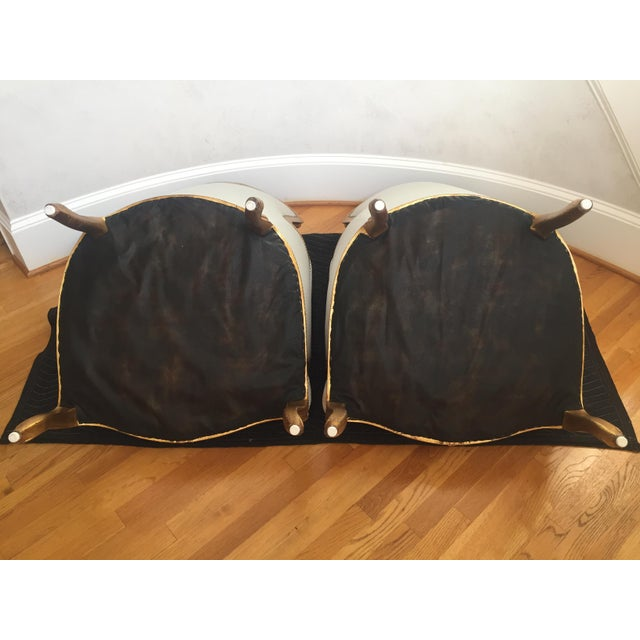 1960s Louis XV Gilt Wood and Fortuny Silver Silk Blend Upholstered Bergere Chairs - a Pair For Sale - Image 12 of 12