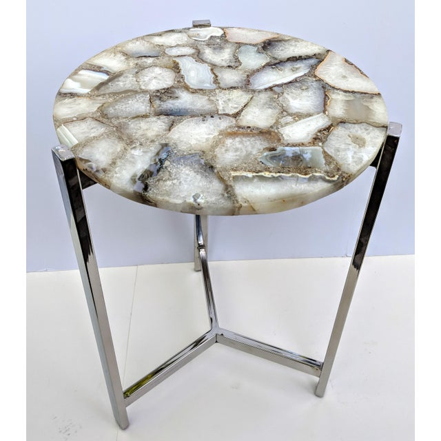 Agate Jonathan Adler Inspired Organic White Agate Accent Table With Chrome Legs For Sale - Image 7 of 13