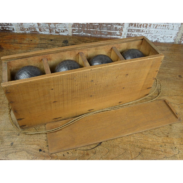 Antique French Iron Boules Set With Case For Sale - Image 6 of 13