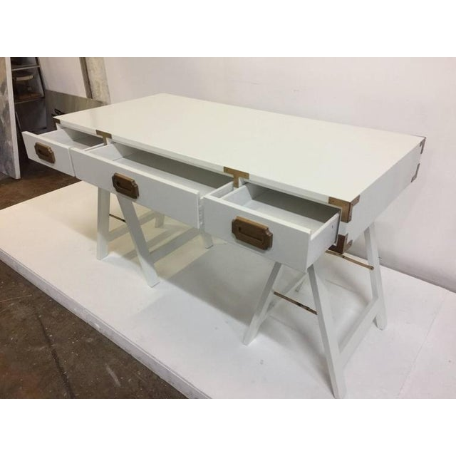 Campaign Vintage Campaign Desk with Original Patinated Brass Hardware For Sale - Image 3 of 7