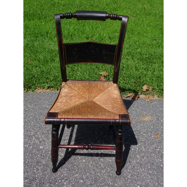 Antique Set of 4 Hitchcock Pillow Back Rush Seat Stenciled Ct Farmhouse Chairs For Sale - Image 9 of 13