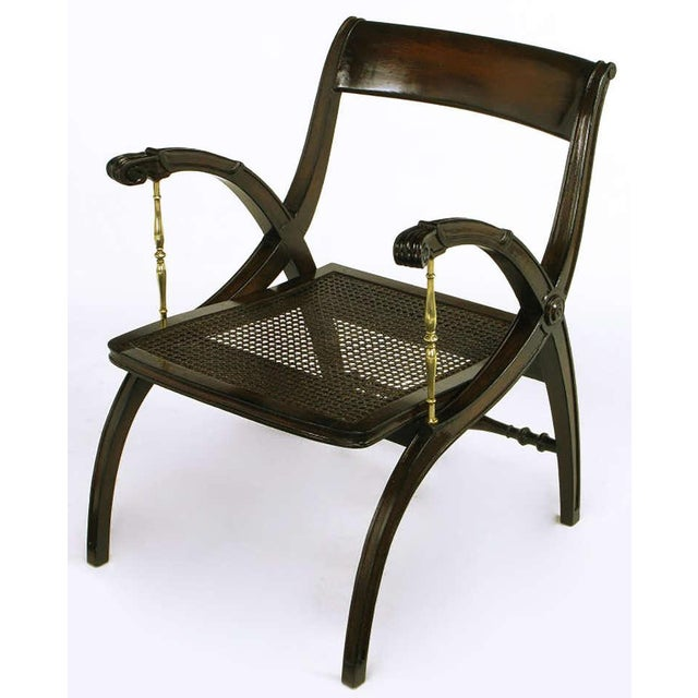 Mahogany and Brass Open-Back Armchair - Image 8 of 9