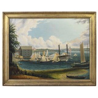 American Folk Painting of a Regatta on Lake Seneca, New York