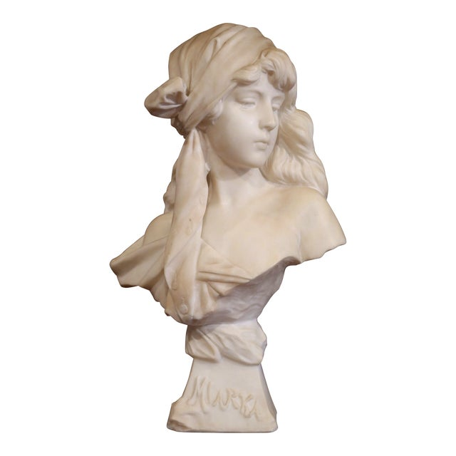 """19th Century French Marble Bust of Young Beauty """"Miarka"""" Signed E. Villanis For Sale"""