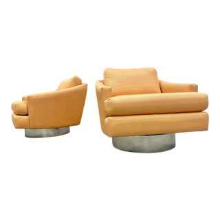 Milo Baughman Attributed Chrome Swivel Lounge Chairs - a Pair For Sale
