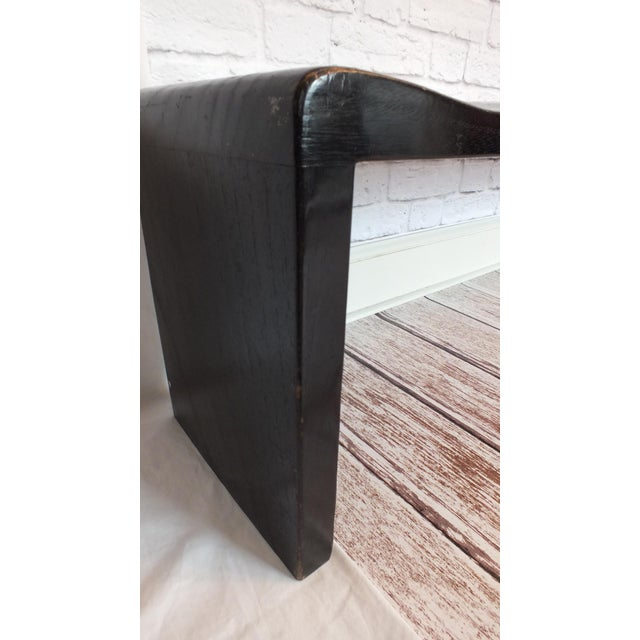 Vintage Wave Bench in Black Lacquer - Image 6 of 11