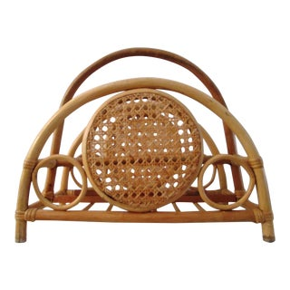 Mid-Century Bamboo & Rattan Magazine Rack For Sale