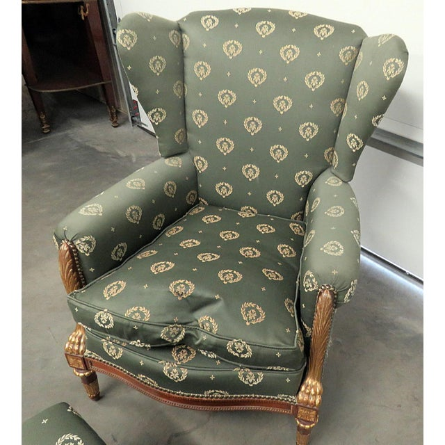 Jansen Regency Style Chair & Ottoman - A Pair For Sale - Image 5 of 10