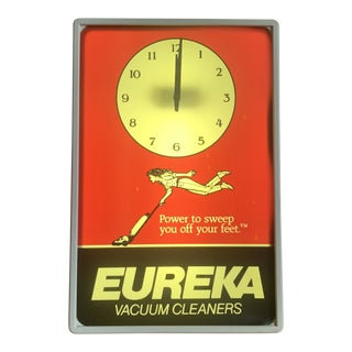 Vintage 1970s Eureka Vacuum Lighted Clock Wall Advertisement For Sale