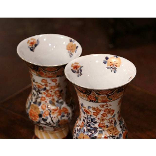 Ceramic Pair of Early 20th Century Japanese Painted and Gilt Porcelain Imari Vases For Sale - Image 7 of 11