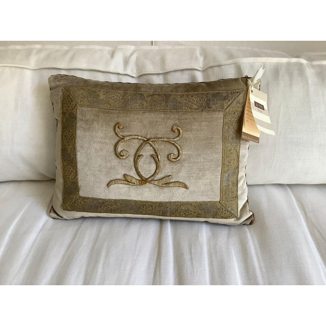Rebecca Vizard B. Viz Designs Silvery Gold Metallic Embroidery Pillow For Sale - Image 4 of 4