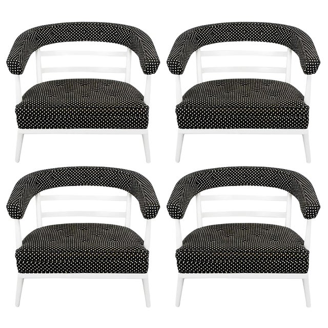 Four Bert England White Lacquer & Black Polka Dot Lounge Chairs For Sale