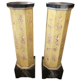 Pair of Smashingly Dramatic Faux Painted Vintage Architectural Columns For Sale