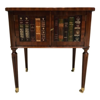 Vintage Maitland-Smith Banded Mahogany Leather Top Side Table W/ Faux Books and Two Door Storage For Sale
