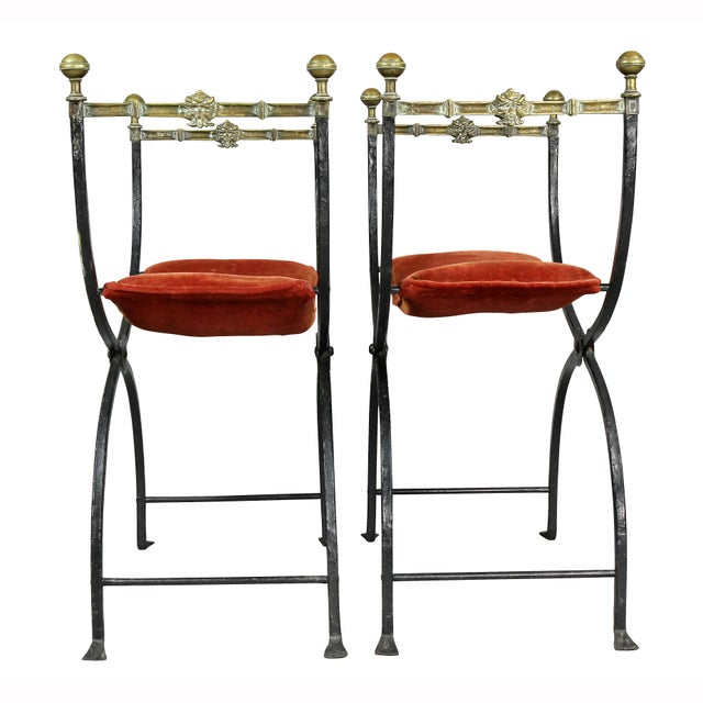 Italian Wrought Iron and Bronze Curule Chairs - a Pair For Sale - Image 9 of 11