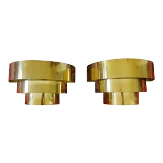1970s Vintage Lightolier Style Tiered Brass Sconces- A Pair For Sale
