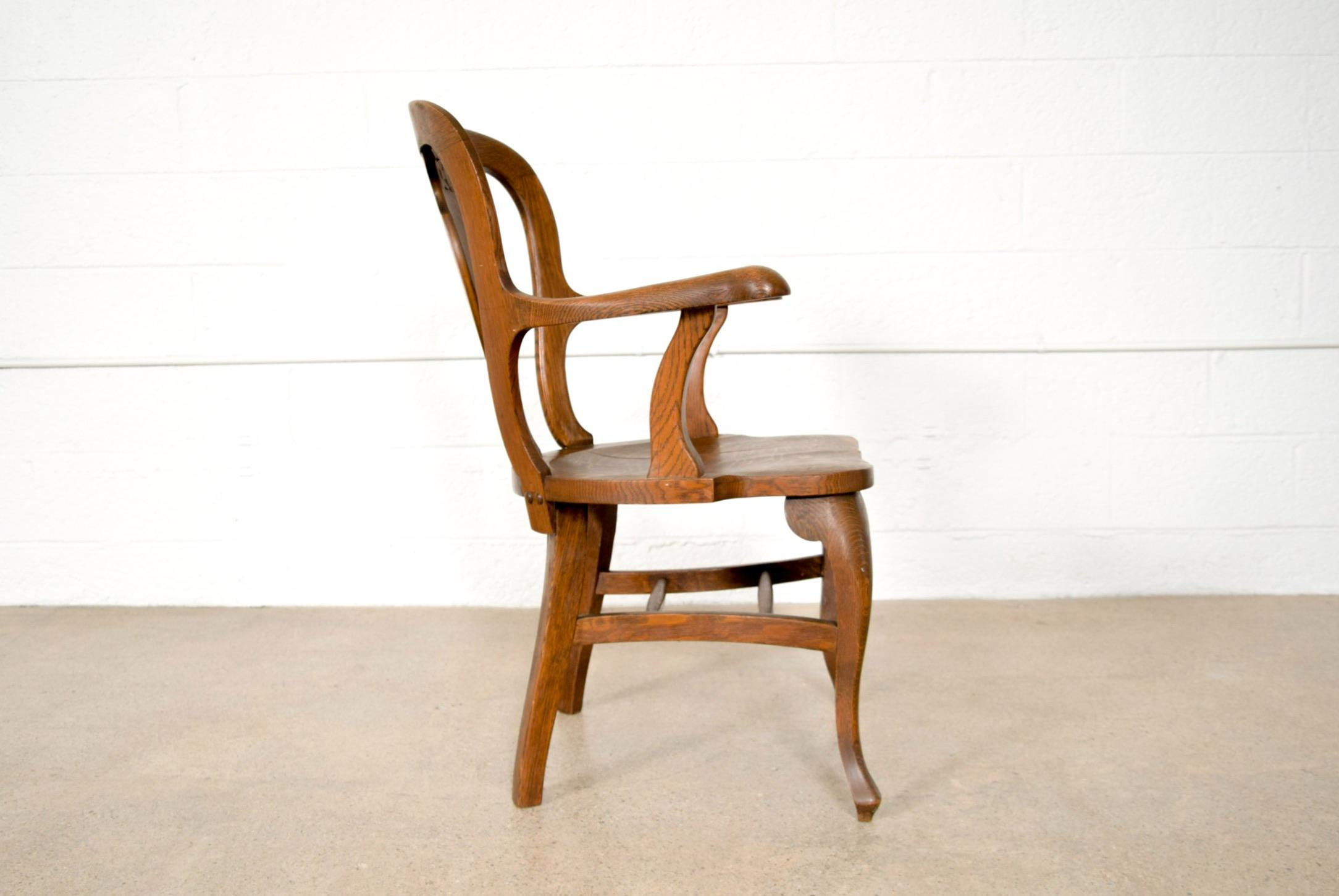 Antique Tiger Oak Side Arm Chair For Sale   Image 5 Of 11