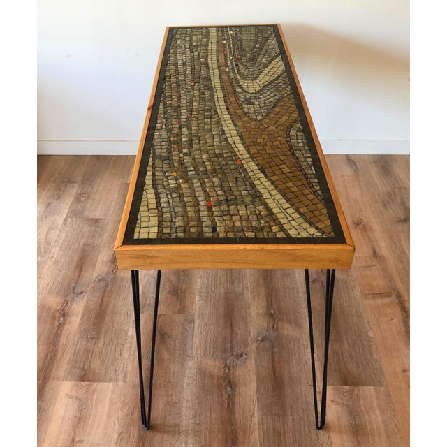 Vintage Wood Framed Tile Mosaic Sofa Table With Hairpin Legs For Sale - Image 13 of 13