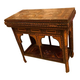 Early 19th Century Syrian Antique Inlaid Folding Game Table With Mother of Pearl Inlaid . For Sale