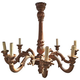 French Louis XVI Style Wood Chandelier, 19th Century For Sale