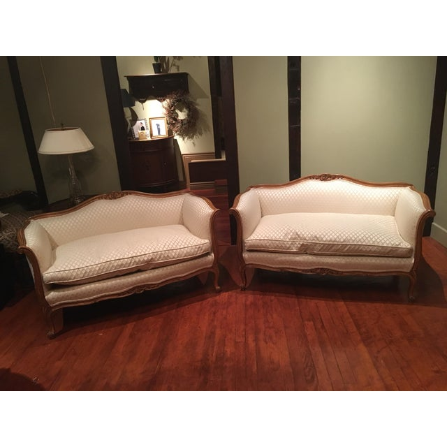 Cotton Louis XV Style Loveseats - A Pair For Sale - Image 7 of 7